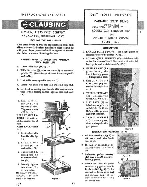 Clausing 20 Inch Drill Press Operating And Parts