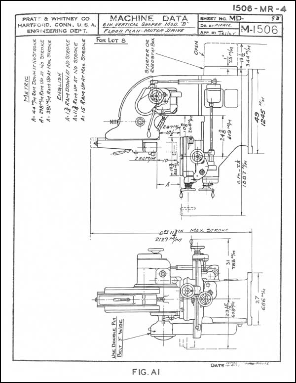 Pratt Whitney 6 Inch Vertical Shaper Instruction Parts Manua