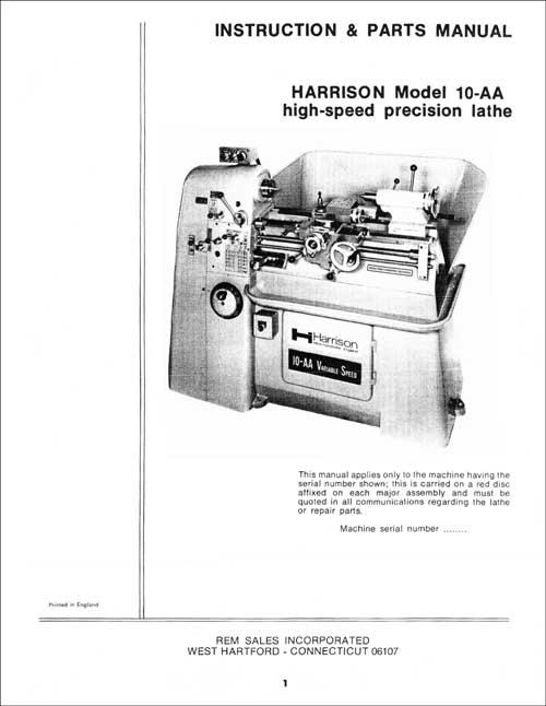 HAMILTON Lathe//Miller Instructions /& Parts Manual 0326